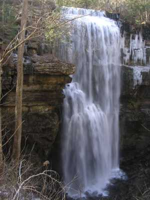 Virgin Falls flowing in winter