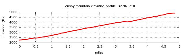 Brushy Mountain Trail (Mt. LeConte) Elevation Profile