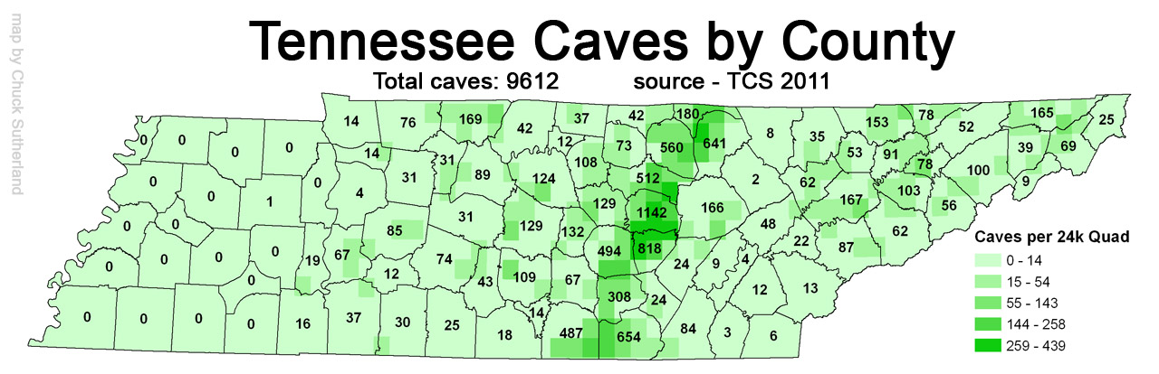 Tn Caves Per County 2011also See Tn Sinkholes